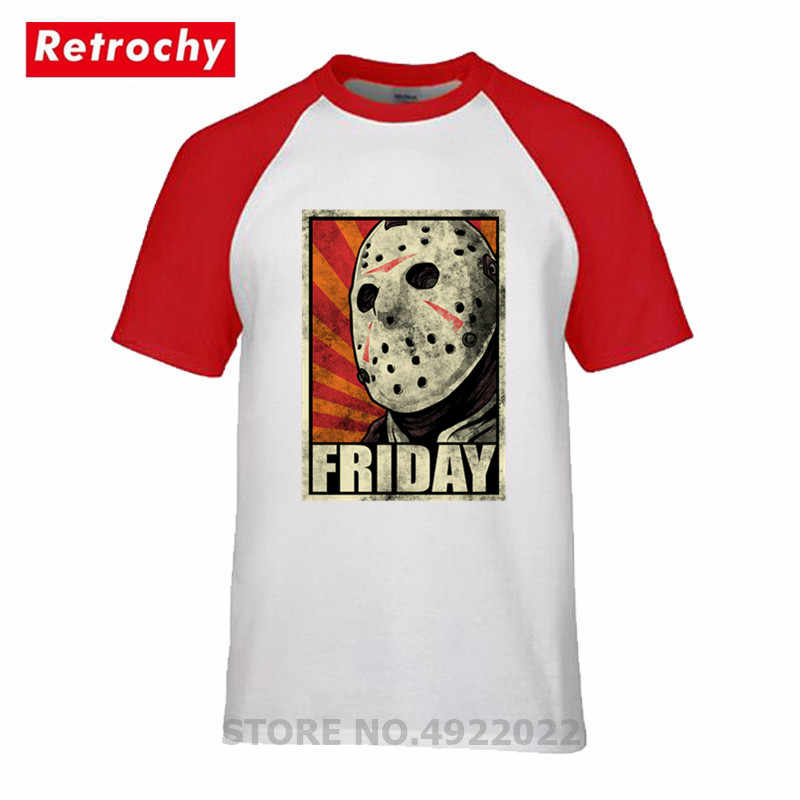 Youth black soft cotton T-shirt with Jason Halloween design . Friday the 13th
