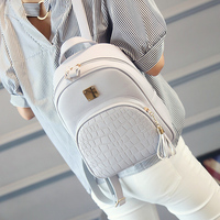 EnoPella Women Backpack Leather School Bags For Teenager Girls Stone Sequined Female Preppy Style Small Backpack