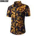 Camisa de Los Hombres de Los Precios al por mayor 2016 Nuevo Diseño de Moda de Manga Corta Los Hombres de la flor Camisas de Vestido de Slim Fit Camisa Casual Más Tamaño M-5XL