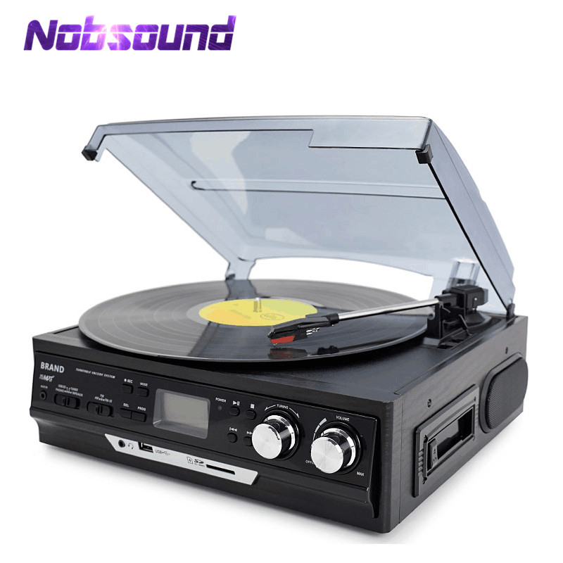 все цены на Nobsound Multi-Function Home Turntables LP Vinyl Record Player Built-in Stereo Speakers Support USB/SD Card/Cassette/FM Radio онлайн