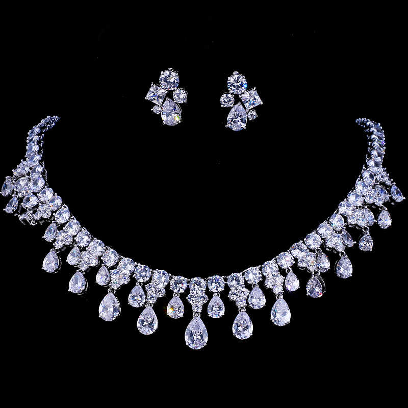 Emmaya Zircons High Quality White Gold Color Cubic Zirconia Bridal Wedding Necklace And Earring Sets Party Gift