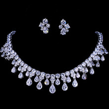 Emmaya Zircon Kualitas Tinggi Warna Emas Putih Cubic Zirconia Bridal Wedding Kalung Dan Earring Set Party Hadiah(China)