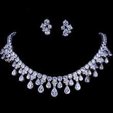 Emmaya zircons de alta qualidade cor ouro branco zirconia cúbica casamento nupcial colar e brinco conjuntos festa presente