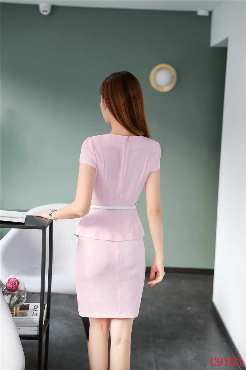 04ca8ded2b5 ... Summer Fashion Ladies Pink Blazer Women Business Suits with Skirt and  Top Sets Short Sleeve Jacket ...