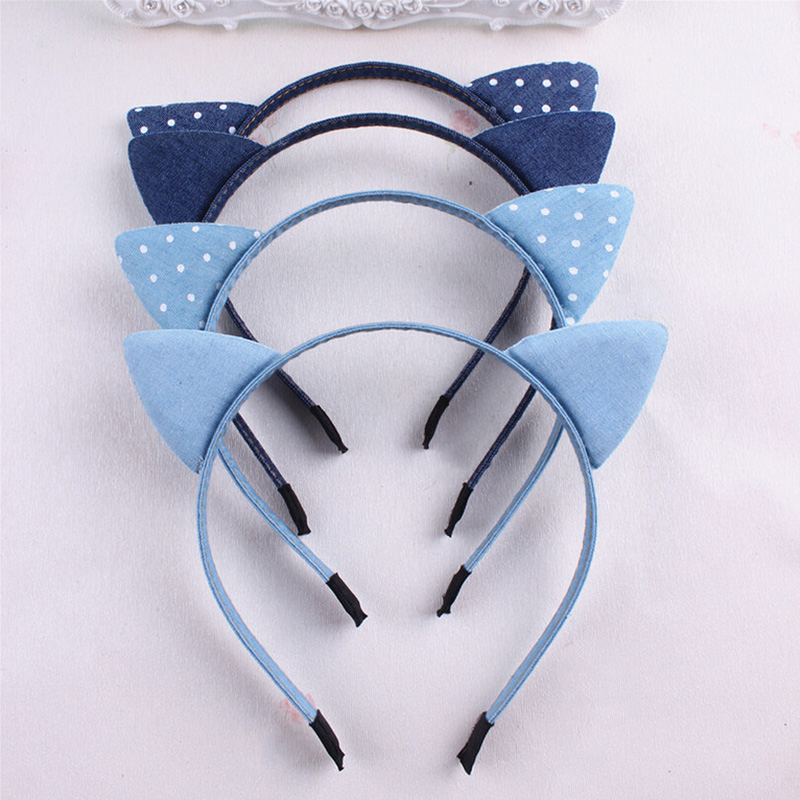 MeryYuer Fashion Classic Korean Blue Jean Cowboy Hairband Cat Ears Denim Cloth Leisure Headbands Girls Children Hair Accessories