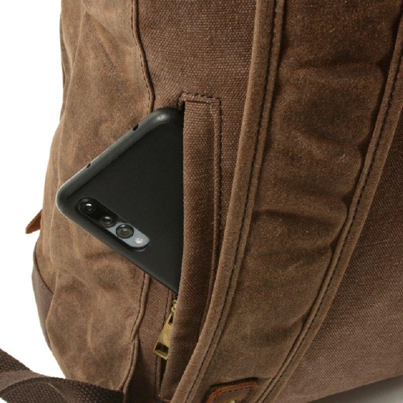 M269 nouveau luxe Vintage toile sacs à dos pour hommes huile cire toile cuir voyage sac à dos grand imperméable Daypacks rétro sac à dos - 5