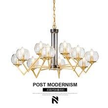 Post-modern Golden LED chandelier ceiling Glass ball luminaires Iron hanging lights for restaurant bedroom living room fixtures