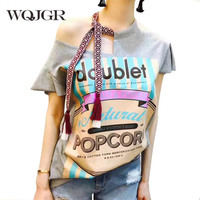 WQJGR 2019 Summer New Tassels Chalaza Irregular Shoulder Pure Cotton T Shirt Women
