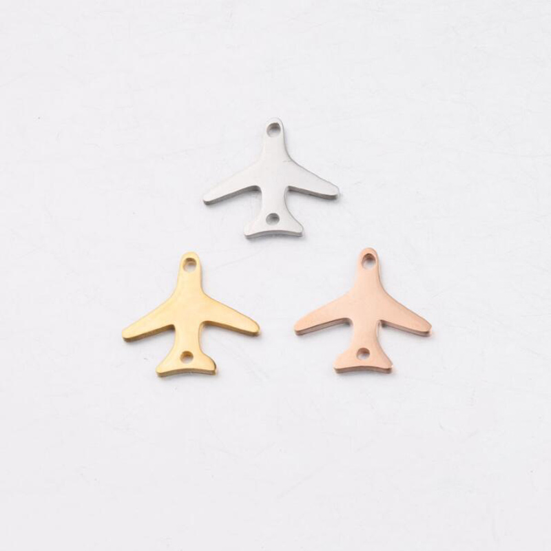 10pcs/Lot Stainless Steel Mirror Polish Airplane Charms Connectors Inner Two Holes DIY Jewelry Making Accessories image