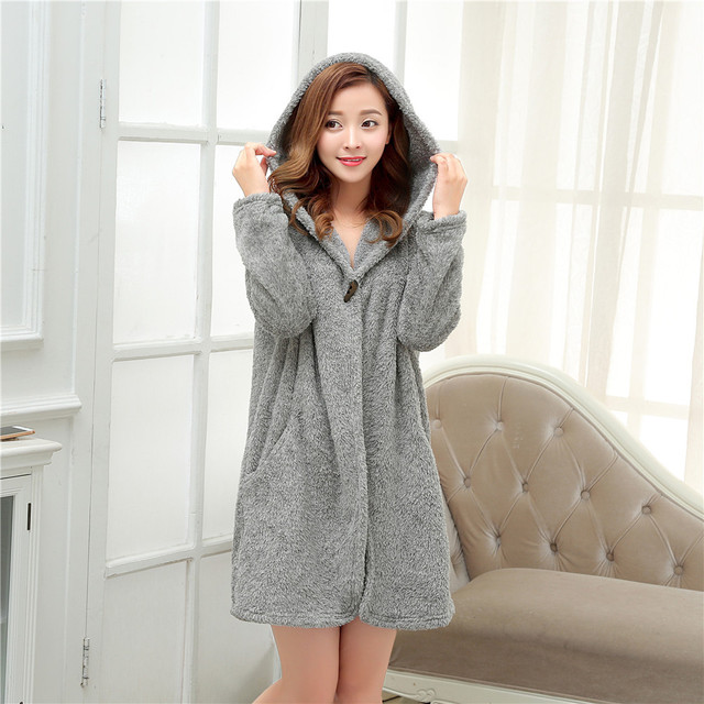 women's two color Short bathrobes cap sleep homewear robes for women