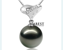 Pure Tahitian Black Pearl 11.5-12mm Vogue  Pendant & Chain Wholesale  Silver Jewellery in Micro Setting