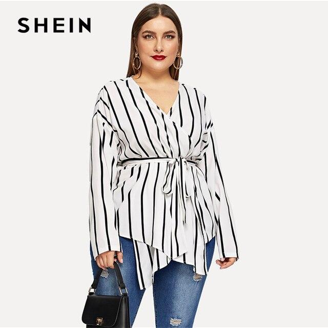 SHEIN White Asymmetrical Plus Size V-neck Belted Striped Blouses Women 2019 Elegant Spring Long Sleeve Highstreet Tops Blouse