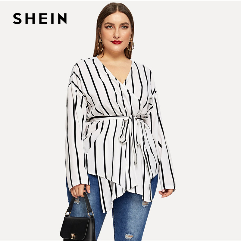 SHEIN White Asymmetrical Plus Size V-neck Belted Striped Blouses Women 2019 Elegant Spring Long Sleeve Highstreet Tops Blouse