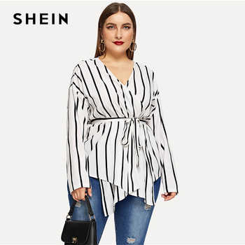 SHEIN White Asymmetrical Plus Size V-neck Belted Striped Blouses Women 2019 Elegant Spring Long Sleeve Highstreet Tops Blouse - DISCOUNT ITEM  45% OFF All Category