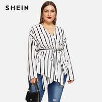 Shein branco assimétrico plus size v-neck com cinto listrado blusas femininas 2019 primavera elegante manga longa blusa highstreet