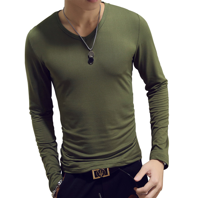 Fashion Long Sleeve Spring Autumn Cultivate One's Morality Men's T-shirt Sets O-neck Solid Polyester Green Grey Red T Shirt Men