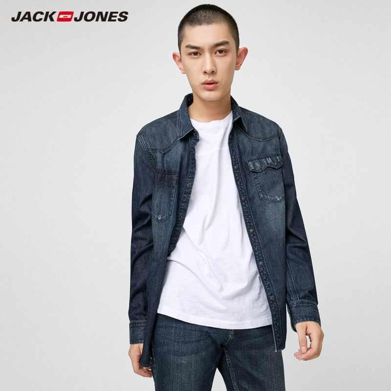 ce8d702079 JackJones 100% cotton slim fit pointed collar denim shirt Male Social  Business Dress Shirt Brand