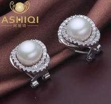 100% perlas de Agua Dulce Pendiente Del Perno Prisionero pendientes de Perlas Naturales, grandes perlas de la joyería para las mujeres, zirconia 925 de plata Esterlina de la vendimia