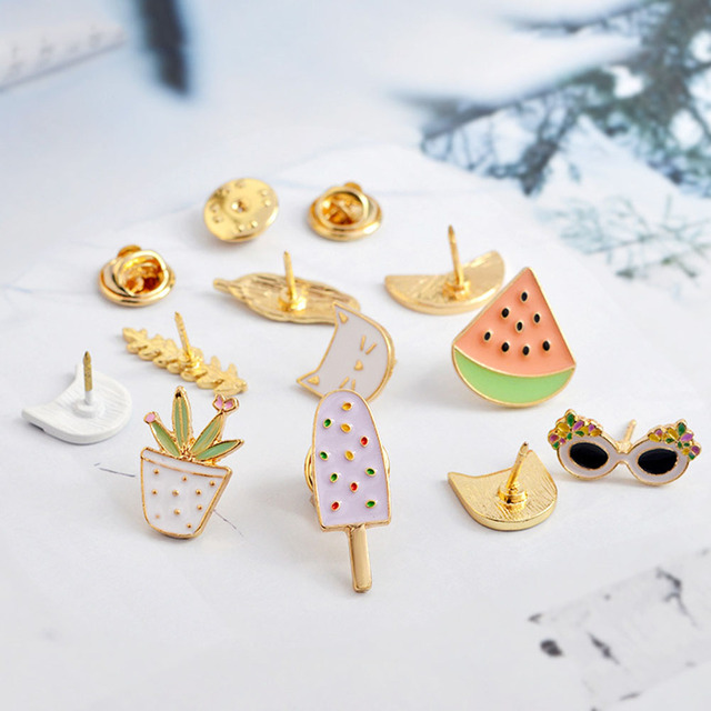 Cartoon Watermelon Leaves Cat Sunglasses Brooches