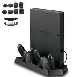 PS4 ضئيلة مروحة منصة رأسية المزدوج التبريد برودة الحرارة بالوعة تحكم محطة شحن 3 اضافية USB للبلاي ستيشن 4 وحدة التحكم سليم