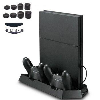 PS4 Slim מאוורר אנכי Stand כפולה קירור Cooler גוף קירור בקר טעינת תחנת 3 נוסף USB לפלייסטיישן 4 Slim קונסולה