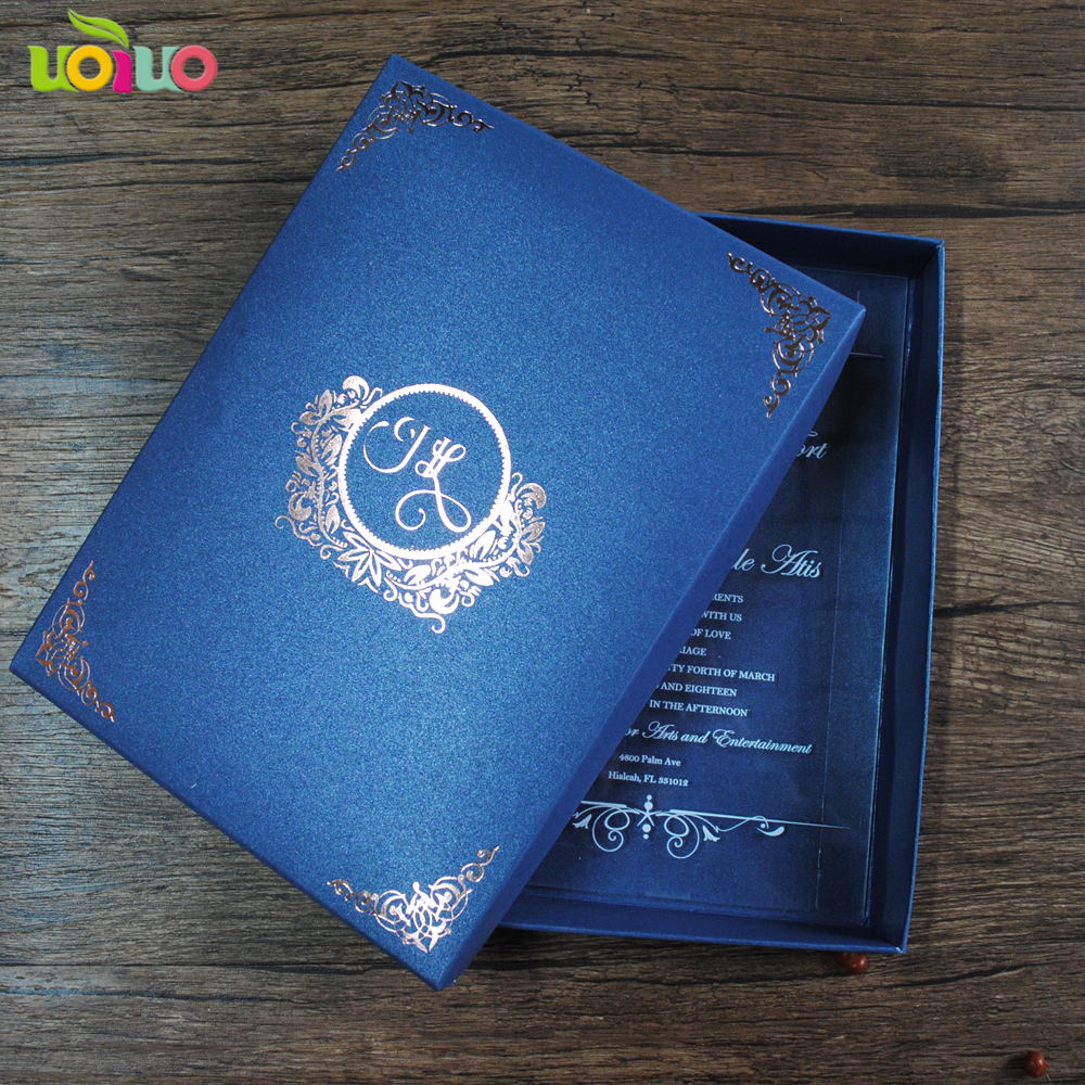 Us 26 0 20pcs Latest Luxurious Custom Royal Blue Wedding Invitation Card Box With Clear Invitations For Decor In Cards