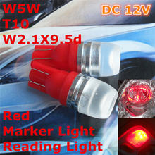 12 V LED Rot Auto T10 (High Power Spot Lampe) W5W, 5d für Trunk-Boot lizenz Leselicht(China)