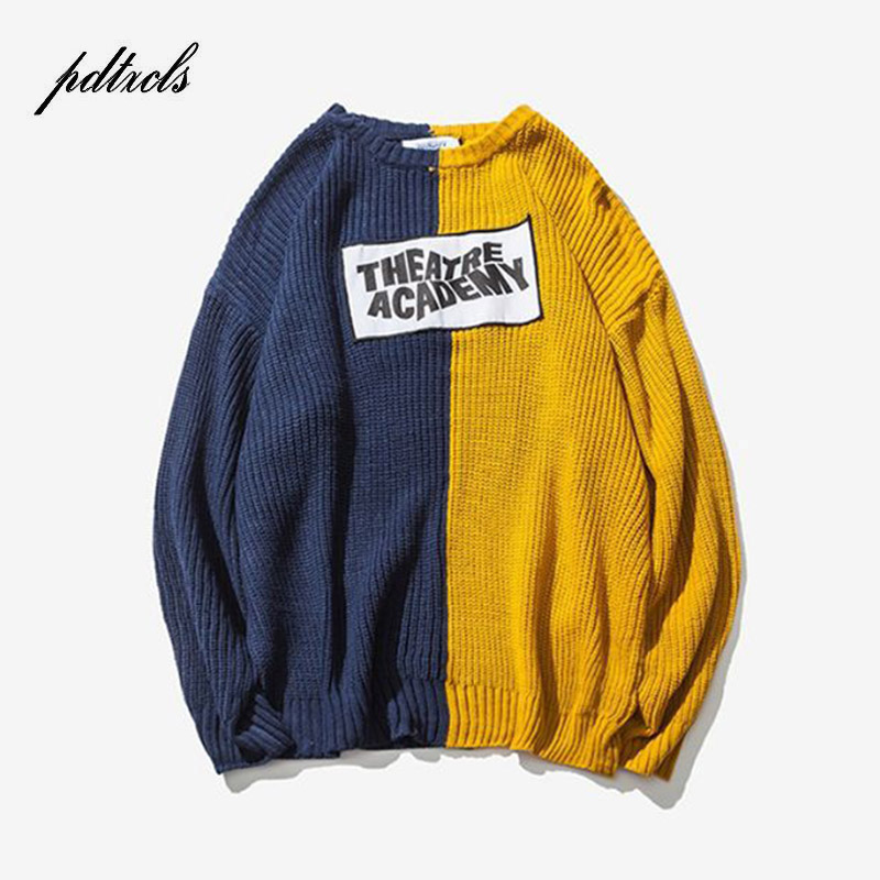 New Color Block Patchwork Knit Sweaters Mens 2018 Hip Hop Winter Casual Pullover Sweater Male Fashion Loose Long Sleeve Sweaters