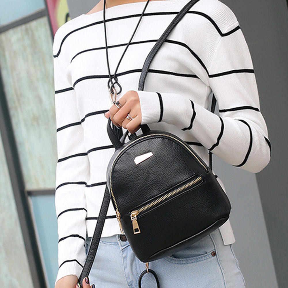 Для женщин кожаный рюкзак больше функция сумка дорожная на молнии внутренняя Mochila Feminina Escolar Adolescente HW #