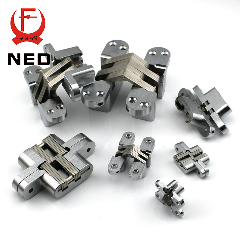 NED-4009 Invisible Concealed Cross Door Hinge 304 Stainless Steel 28x117mm Hidden Hinges Bearing 140KG With Screw For Hotel Home 2 pieces viborg top quality sus304 stainless steel inset hinge soft close self closing cabinet cupboard door hinges inset