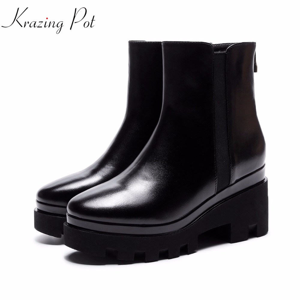 Krazing Pot 2018 new arrival genuine leather round toe high heels slip on platform cowboy boots handmade women ankle boots L5f2 krazing pot genuine leather 2018 round toe high heels metal fasteners motorcycle boots mature women round buckle ankle boots l26