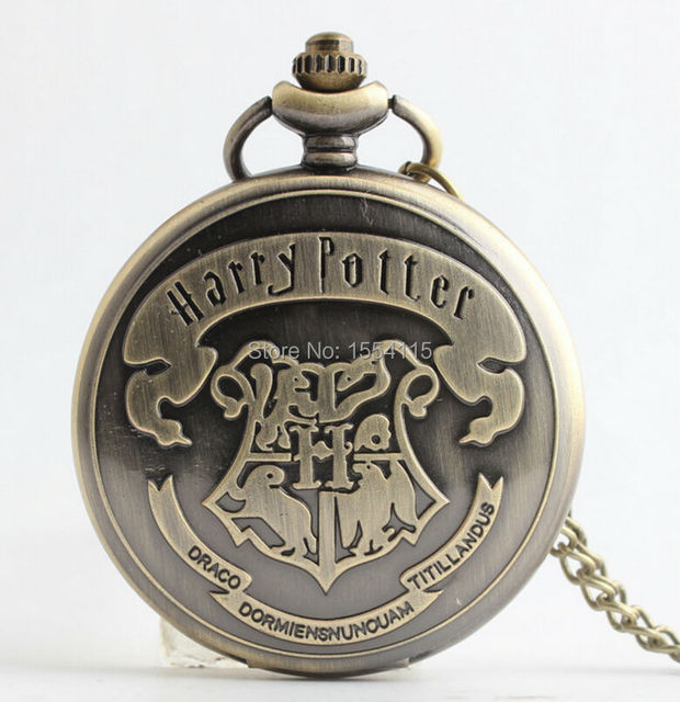 New Arrival  Bronze Pocket Watch with Chain Harry Potter Pocket Watch Student Vintage Pocket Watches for Men Hot Sale