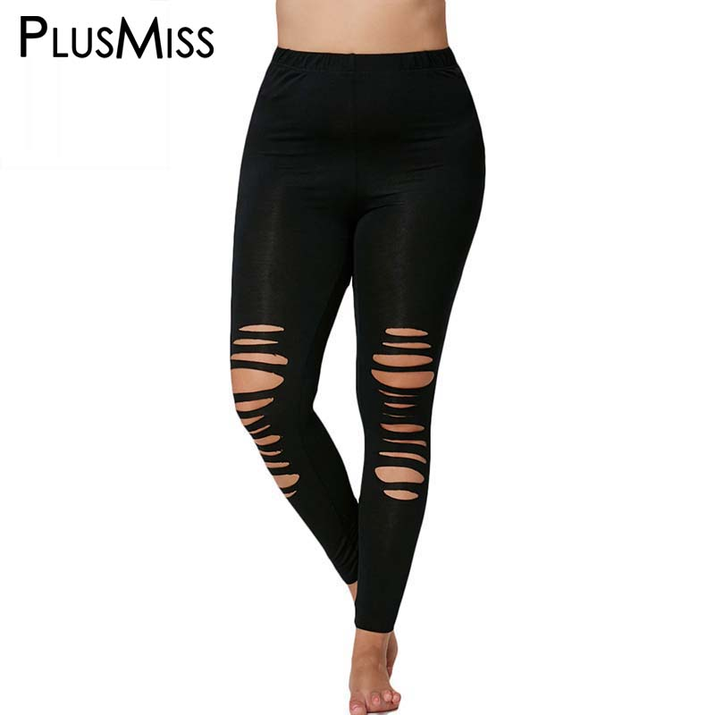 Plus Size 5XL Sexy Ripped Fitness Capri Leggings Women Holes Pencil Stretch Sporting Leggins High Waist Skinny Legins 2017
