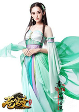 Green and Red 2 Colors Mobile Game Cang Qiong Bian Actress Nazha MeiDuSha Chiffon Cosplay Costume for Women Fairy Costume