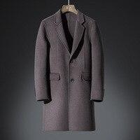 Titotato Шерстяное пальто Для мужчин новинка зимы Повседневное длинные Для мужчин; двусторонний пальто молодежи тонкий Тренч человек куртка пл