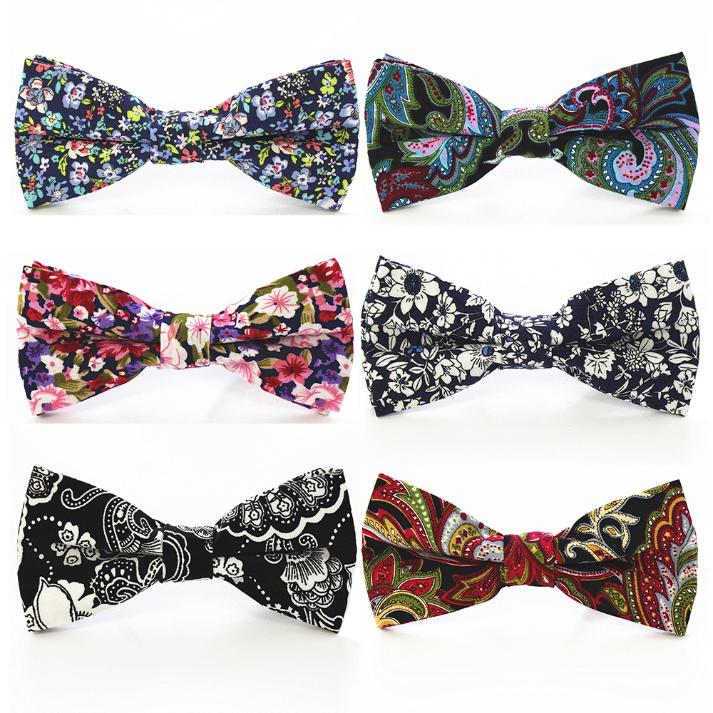 RBOCOTT Fashion Bow Tie Mens Cotton Bowtie For Men Wedding Business Party Accessories Green Black Purple Floral Paisley Bow Ties