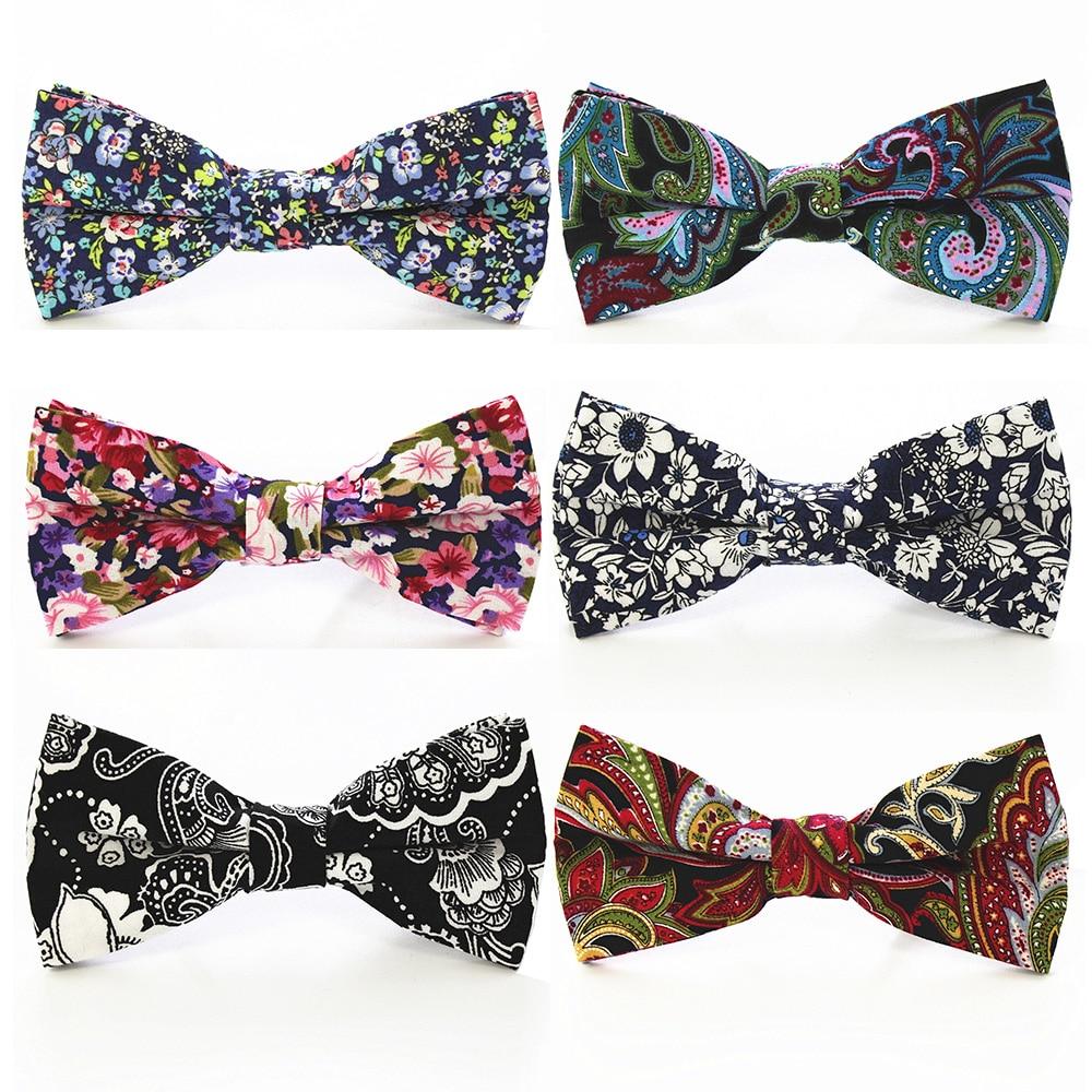 RBOCOTT Fashion Bow Tie Mens Cotton Bowtie For Men Wedding Business Party Accessories Green Black Purple Floral Paisley Bow Ties