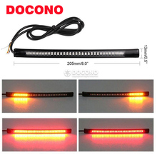 DOCONO Motorcycle Light Strip Tail Brake Stop Turn Signal Light License Plate Lamp 8″ Red and Amber Led Color CAFE RACER