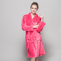 2018 New Style Soft Quality Flannel Bath Robes Women Pink Red Dot Bridesmaid Robes Winter Kimono Bathrobes For Weeding