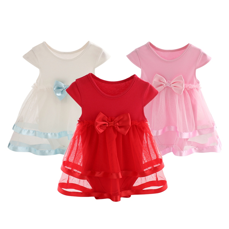 Newborn Summer Baby font b Dress b font Summer Cotton Bow Baby Rompers For Girl Kids