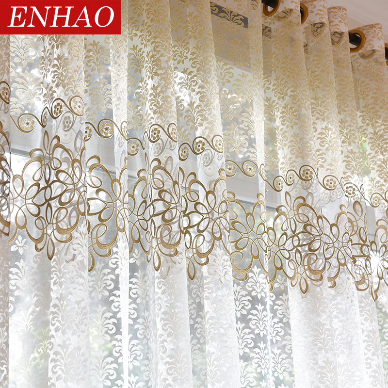 ENHAO Floral Modern Sheer Tulle Curtains For Living Room Bedroom Kitchen Voile Sheer Curtains For Window Tulle Curtains Drapes