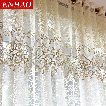 ENHAO Floral Modern Sheer Tulle Curtains for Living Room Bedroom Kitchen Voile Sheer Curtains for Window Tulle Curtains Drapes tulle modern window curtains for living room solid sheer curtains for bedroom voile drapes curtains window screening treatments