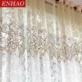 ENHAO Floral Moderne Sheer Tüll Vorhänge für Wohnzimmer Schlafzimmer Küche Voile Sheer Vorhänge für Fenster Tüll Vorhänge Vorhänge
