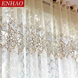 ENHAO Floral moderno pura tul cortinas para sala de estar, dormitorio y cocina de gasa pura cortinas de tul para ventana cortinas