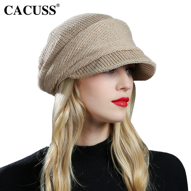 f98924707ff CACUSS Branded Wool Hats For Women Casual Fedoras Cap Knitted Beige Wool  Warm Bucket Beanies 2017