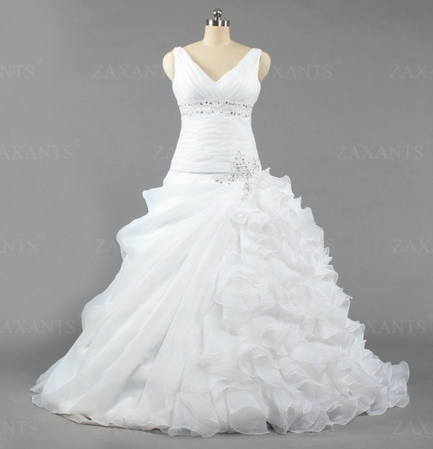 ML444 New Arrival V Neck Bridal Gown White with Crystals Beaded Ball Gown Wedding Dresses