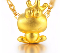 24K Yellow Gold Pendant 3D Craft Frog Prince Pendant 0 95g