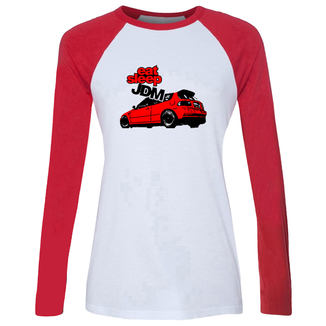 Art Car Stickers SLEEP JDM Red Car On the Road To Find Out best friend Design Women's Lady Print long sleeve T-Shirt Graphic Tee image