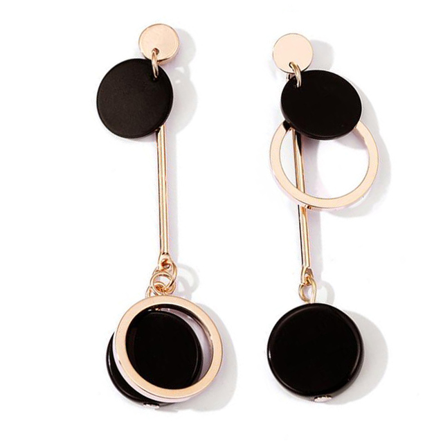 Women Elegant Drop Earrings Black Acrylic Asymmetric Round Circle Gold Color Minimalist Party Jewelry Gift For