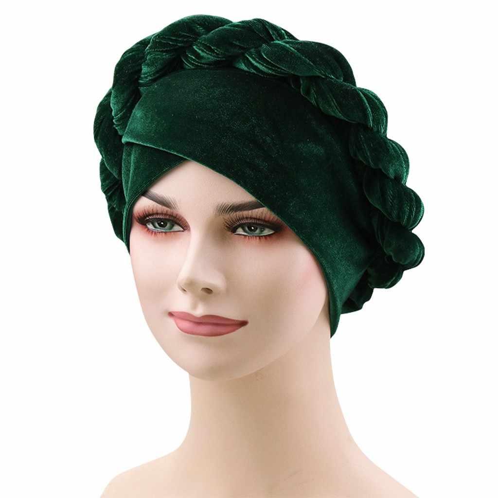 Женская оплетка бархат мусульманский эластичный тюрбан шапка после химиотерапии головной платок, шарф Кепка #20
